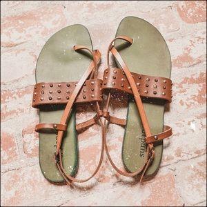 sundance catalog leather tan studded brown sandals